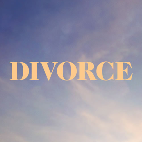 "The word ""divorce"" with cloudy sky background"